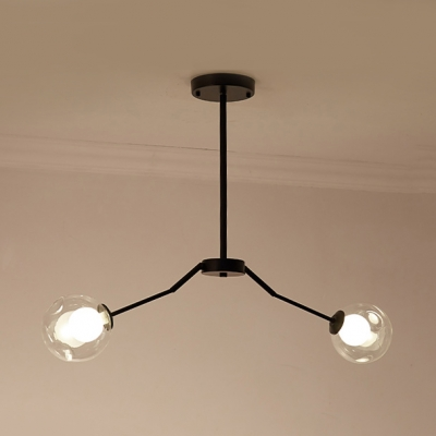 Dining Room Sunken Orb Chandelier Clear Glass Two Lights Modern Black Pendant Lamp