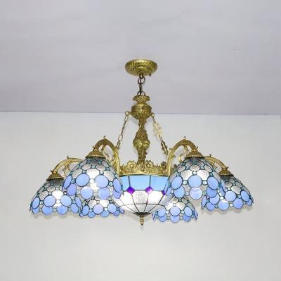 Domed Shade Restaurant Hotel Chandelier Stained Glass 7 Lights Elegant Glass Hanging Light
