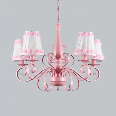 Flower/Lace/Plaid Pendant Lamp with Tapered Shade Metal 5 Lights Pink Chandelier for Bedroom