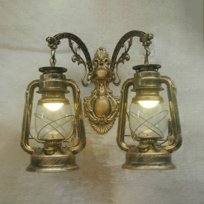 Front Door Kerosene Wall Lamp Wrought Iron 2 Lights Vintage Stylish Age Brass/Black/Copper Wall Light