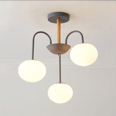 Frosted Glass Globe Ceiling Light 3 Lights Modern Up/Down Lighting Chandelier for Bathroom