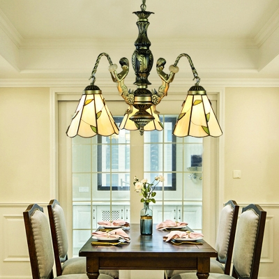 Glass Cone Pendant Light with Leaf & Mermaid 3 Lights Tiffany Style Rustic Chandelier for Hallway