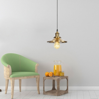Glass Edison Bulb Hanging Light Kitchen Hallway 1 Light Industrial Pendant Light in Brass