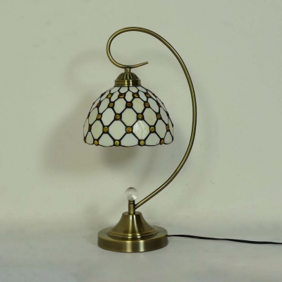 Glass Lattice Bowl Desk Light with Bead 1 Light Simple Style Tiffany Table Light in Beige/Yellow for Hotel