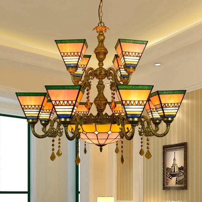 Stained Glass Craftsman Chandelier 13 Lights Tiffany Style Hanging Lamp with Crystal for Villa