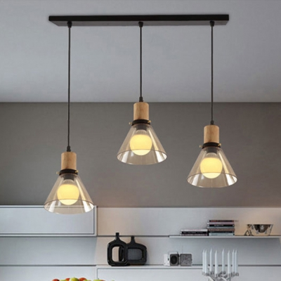 Industrial Cone Pendant Light Clear Glass 3 Lights Linear/Round Canopy Hanging Light for Kitchen