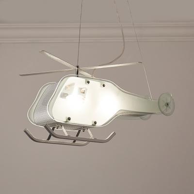 Kindergarten Helicopter Hanging Light Metal 2 Lights Modern Style Nickle Chandelier Light