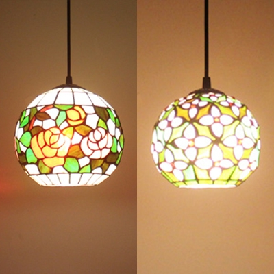 Multi-Color Globe Pendant Light 1 Light Rustic Style Stained Glass Hanging Lamp for Cafe