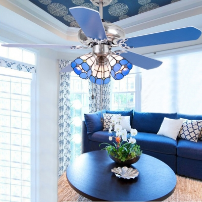Nautical Dome Ceiling Fan with Blade 3 Heads Stainless Steel Semi Ceiling Mount Light for Villa