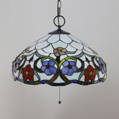 Restaurant Bloom/Peacock Tail Hanging Light Stained Glass 16 Inch Rustic Style Pendant Light