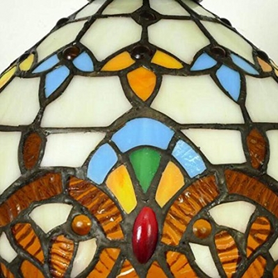 Stained Glass Bowl Pendant Lamp 1 Head Victorian Style Plug In Ceiling Light for Balcony
