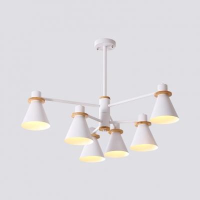 Study Room Cone Chandelier Metal 4/6 Lights Modern Gray/Green/White Pendant Light