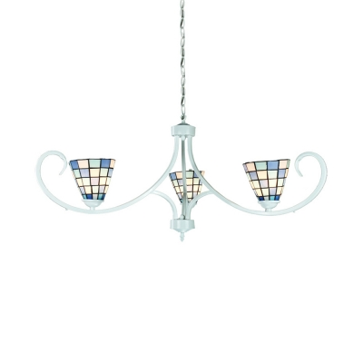 Tiffany Style Nautical Cone Hanging Light 3 Lights Glass Chandelier in Blue for Bathroom