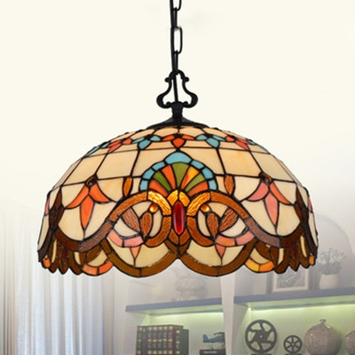 Tiffany Victorian Beige Pendant Light Dome Shade 1 Stained
