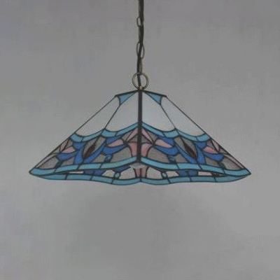 Traditional Magnolia Pendant Light with Craftsman Shade Stained Glass 1 Light Pendant Light for Shop