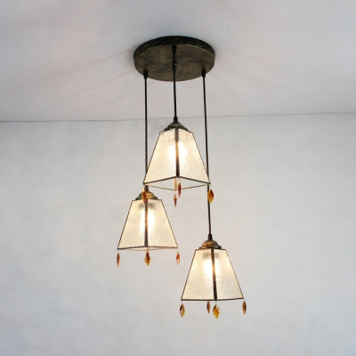 Vintage Aged Brass Hanging Light Trapezoid Shade 3 Lights Glass Suspension Light with Crystal for Bar