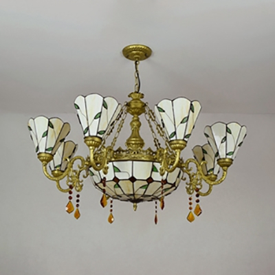 Vintage Cone Dome Chandelier 9 Lights Glass Hanging Lamp with Amber Crystal for Living Room
