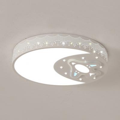 White Moon Plane Flush Mount Light Modern Metal Ceiling Light In Warm White For Child Bedroom Beautifulhalo Com