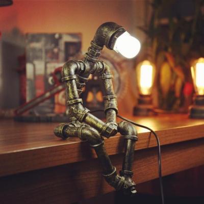 1 Head Robot Desk Light Industrial Metal Reading Light in Heritage Brass for Restaurant