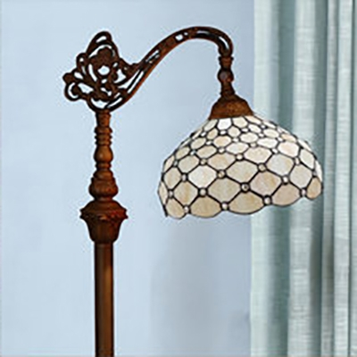 1 Light Bowl Standing Light Tiffany Antique Glass Floor Lamp Floor Lamp in Bronze for Dining Room