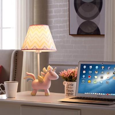 1 Light Unicorn LED Desk Lamp with Tapered Shade Lovely Resin Reading Light in Blue for Girl Bedroom
