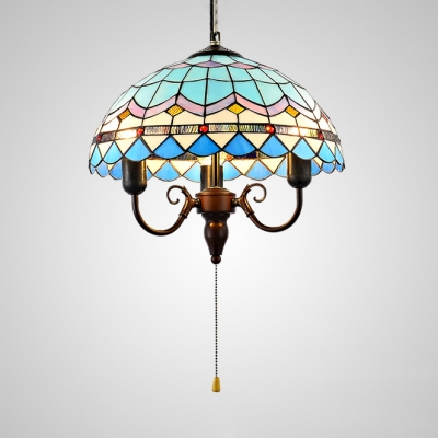 3 Lights Candle Hanging Light Mediterranean Stained Gl Ceiling