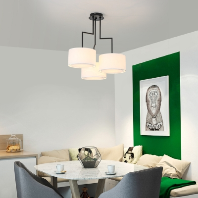 3 Lights Drum Shade Chandelier Simple Style Fabric Suspension Light in Black/Coffee/White for Bedroom