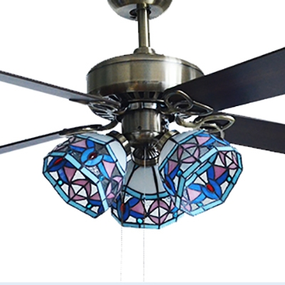 36/42 Inch Dome Ceiling Fan 3 Lights Tiffany Antique Glass Semi Ceiling Mount Light for Dining Room