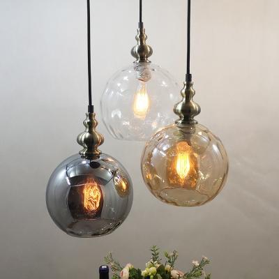 Sphere Shade Pendant Light 1 Light Simple Style Amber/Clear/Smoke Glass Hanging Light for Restaurant