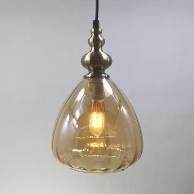 1 Head Teardrop Pendant Light Modern Style Amber/Clear/Smoke Hanging Light for Restaurant Bar