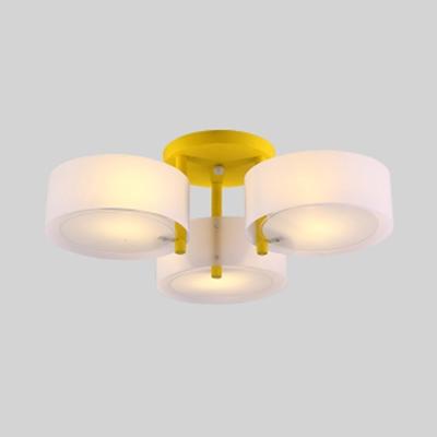 Macaron Loft Round Ceiling Light Acrylic 3 Heads Blue/Green/Pink/Yellow Semi Flush Light for Child Bedroom