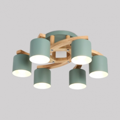 Metal Cylindrical Semi Flush Mount Light Metal Wood 4/6/8 Lights Nordic Style Ceiling Light in Gray/Green/White