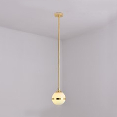 Opal Glass Globe Pendant Light Bedroom Bathroom 1/2/4 Lights Modern Stylish Hanging Light in Gold/Silver