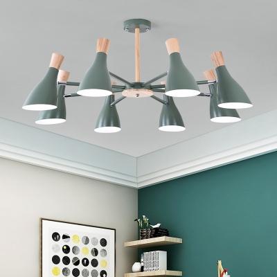 8 Lights Wine Bottle Chandelier Nordic Style Wood LED Hanging Lamp in Gray/Green/White for Living Room