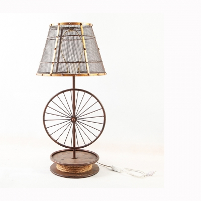 American Rustic Mesh Screen Desk Light Metal 1 Light Table Light with Wheel Decoration for Bedroom