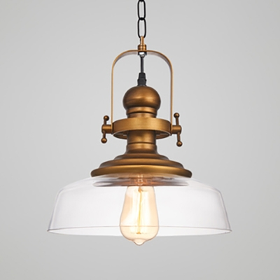 Antique Stylish Barn Suspension Light One Light Clear Glass Metal Hanging Light in Brass for Kitchen