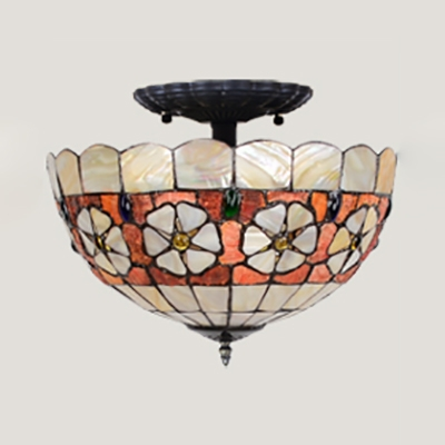 Beige Dome Inverted Semi Flush Mount Light 12 Inch Tiffany Rustic Stained Glass Ceiling Fixture for Bedroom