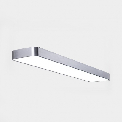 Black/White Rectangle LED Flush Mount Light 23.5/35.5/47 Inch Simple Style Ceiling Lamp for Shop