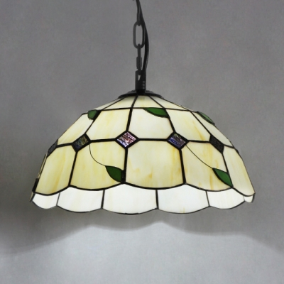 Bowl Shade Restaurant Hanging Light with Green Leaf Glass 1 Light Rustic Pendant Lamp in Beige
