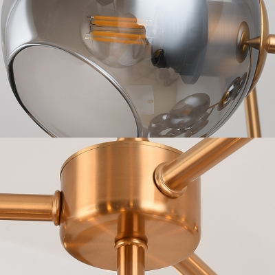 Coffee Shop Grape Pendant Light Smoke Glass 19 Lights Creative Brass Chandelier with Spherical Shade