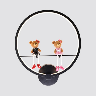 Cute Circle Wall Sconce with Toy Decoration Metal Black Wall Light in Third Gear for Boy Girl Bedroom