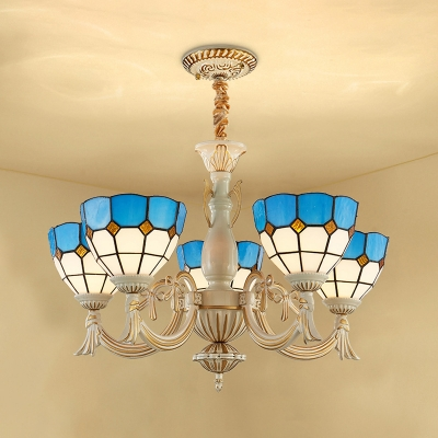 Dining Room Dome Shade Chandelier Glass 5 Lights Tiffany Style Nautical Blue Pendant Lamp