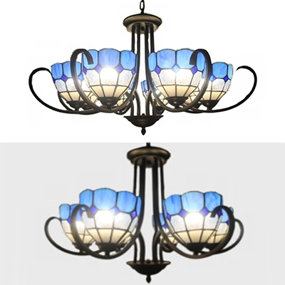 Dome Shade Restaurant Hotel Chandelier Stained Glass 6/8 Lights Mediterranean Style in Blue