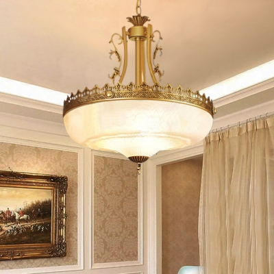 Elegant Style Dome Chandelier 3 Lights Frosted Glass Pendant Lamp in White for Study Room