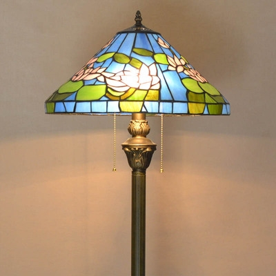 Glass Conical Shade Floor Light with Pull Chain Living Room 1 Light Tiffany Antique Standing Light