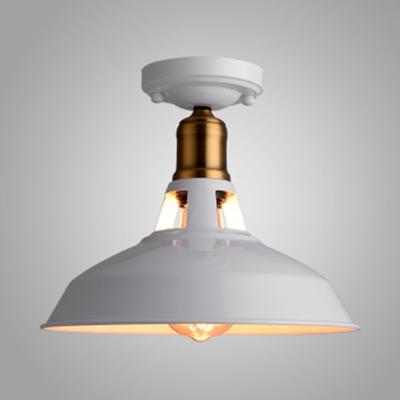 Foyer Barn Shape Flushmount Light Iron Single Head Vintage Stylish Black/White Ceiling Light, HL537687