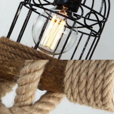 Industrial Birdcage Island Light 3 Lights Rope Wood Ceiling Pendant in Beige for Cafe Bar