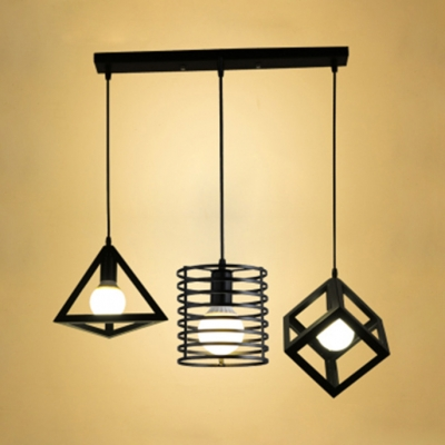 Industrial Linear/Round Canopy Pendant Light 3 Lights Metal Hanging Light in Black for Cafe