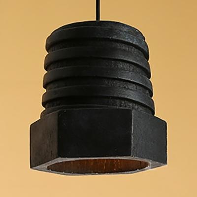 Industrial Nut Shape Pendant Light Resin One Light Black Hanging Light for Restaurant Hallway HL534752 фото