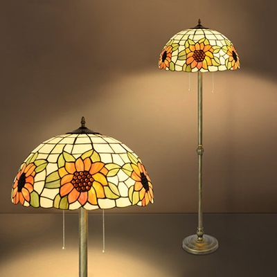 Living Room Floral Floor Lamp Handmade Stained Glass 2 Heads Tiffany Rustic Standing Light